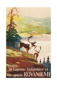 Visit Lapland and Rovaniemi, Finland, Poster in French