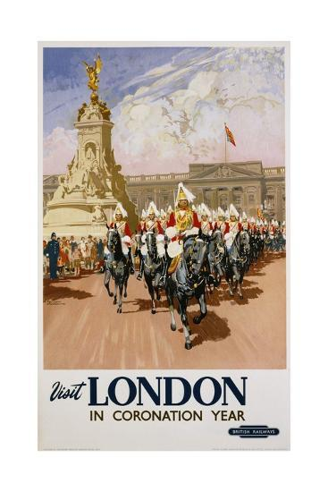 Visit London in Coronation Year Poster--Giclee Print