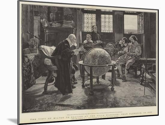 Visit of John Milton to Galileo at the Villa D'Arcetri, Near Florence, Italy-Tito Lessi-Mounted Premium Giclee Print