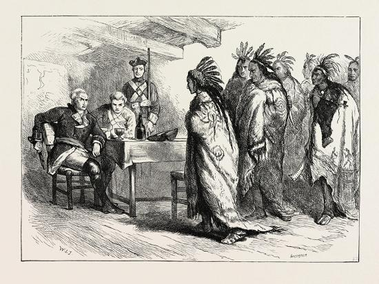 Visit of Pontiac and the Indians to Major Gladwin, USA, 1870S--Giclee Print