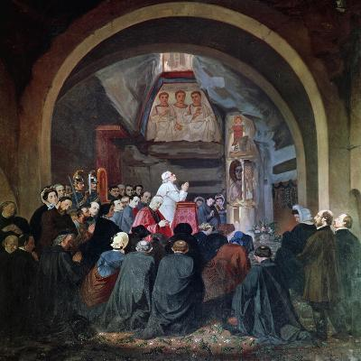 Visit of Pope Pius IX to Tomb of St Cecilia, in Catacomb of Callixtus in Rome, November 1854, Italy--Giclee Print
