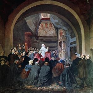 Visit of Pope Pius IX to Tomb of St Cecilia, in Catacomb of Callixtus in Rome, November 1854, Italy