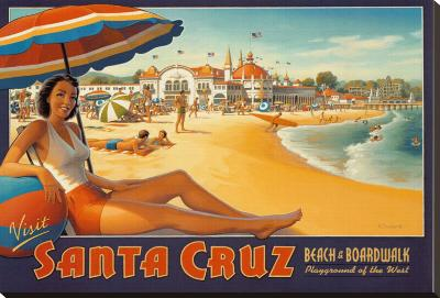 Visit Santa Cruz-Kerne Erickson-Stretched Canvas Print