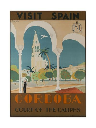 Visit Spain, Cordoba Court of the Caliphs Spanish Travel Poster--Giclee Print