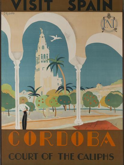 Visit Spain, Cordoba Court of the Caliphs Spanish Travel Poster-David Pollack-Photographic Print
