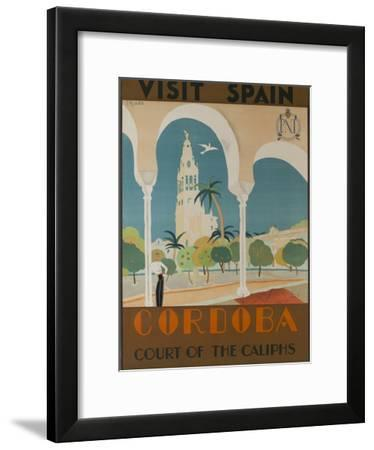 Visit Spain, Cordoba Court of the Caliphs Spanish Travel Poster-David Pollack-Framed Photographic Print