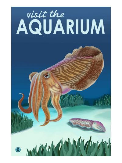 Visit the Aquarium, Cuttlefish Scene-Lantern Press-Art Print