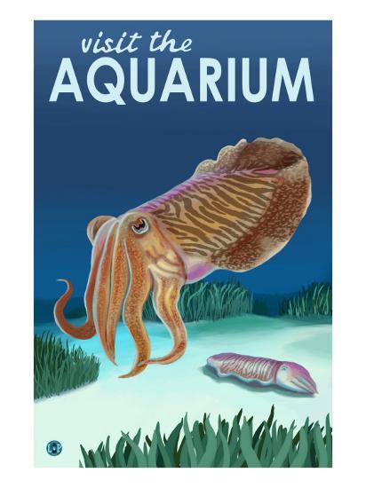 Visit the Aquarium, Cuttlefish Scene-Lantern Press-Art Print
