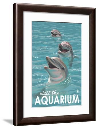 Visit the Aquarium, Dolphins Scene-Lantern Press-Framed Art Print