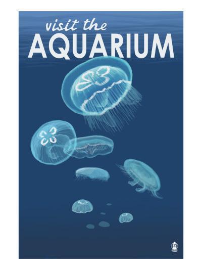 Visit the Aquarium, Jellyfish Scene-Lantern Press-Art Print