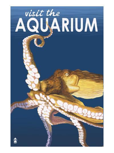Visit the Aquarium, Octopus Scene-Lantern Press-Art Print