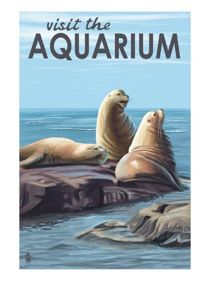 Visit the Aquarium, Sea Lions Scene-Lantern Press-Art Print