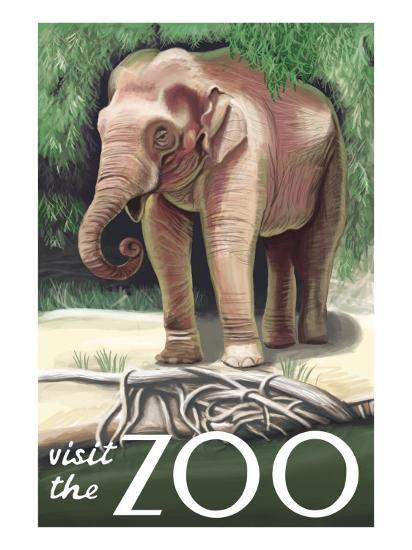 Visit the Zoo, Asian Elephant-Lantern Press-Art Print
