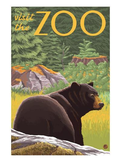 Visit the Zoo, Bear in the Forest-Lantern Press-Art Print