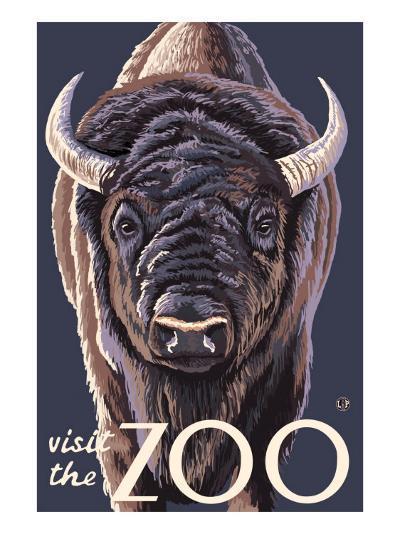 Visit the Zoo, Bison Up Close-Lantern Press-Art Print