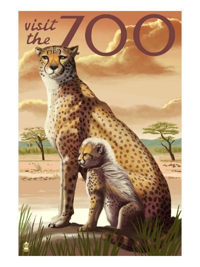 Visit the Zoo, Cheetah View-Lantern Press-Art Print