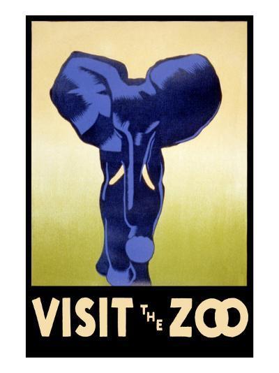 Visit the Zoo - Elephant Charging-Lantern Press-Art Print