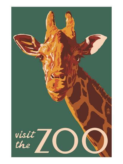 Visit the Zoo, Giraffe Up Close-Lantern Press-Art Print