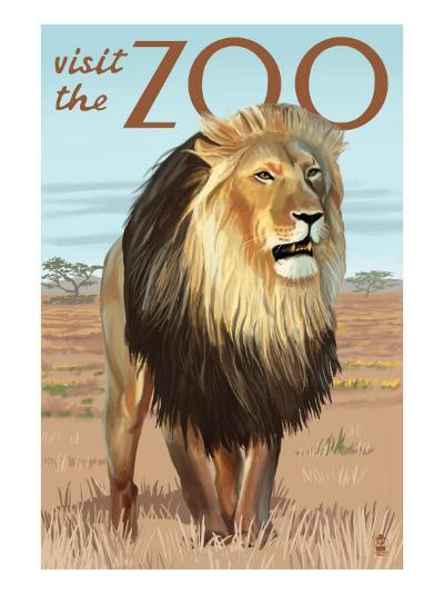 Visit the Zoo, Lion Scene-Lantern Press-Art Print