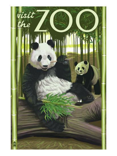 Visit the Zoo, Panda Bear Scene-Lantern Press-Art Print