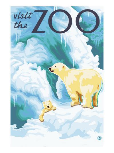 Visit the Zoo, Polar Bear and Cub-Lantern Press-Art Print