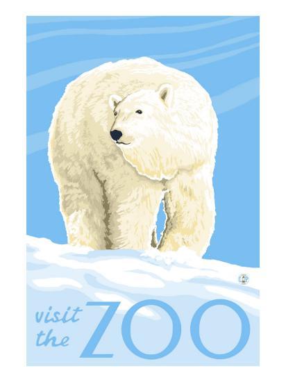 Visit the Zoo, Polar Bear Solo-Lantern Press-Art Print