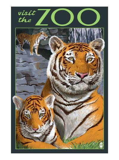 Visit the Zoo - Tiger Family-Lantern Press-Art Print