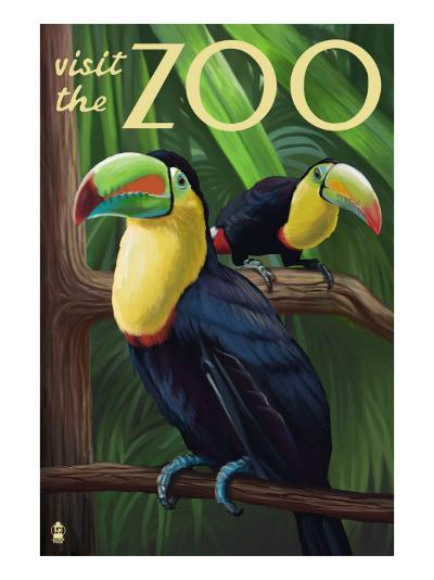 Visit the Zoo, Tucan Scene-Lantern Press-Art Print
