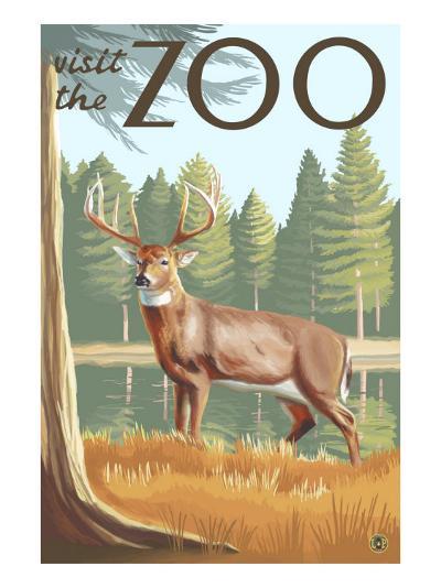 Visit the Zoo, White Tailed Deer Scene-Lantern Press-Art Print
