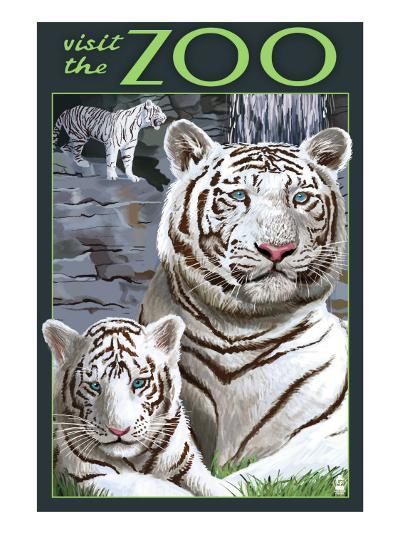 Visit the Zoo - White Tiger Family-Lantern Press-Art Print