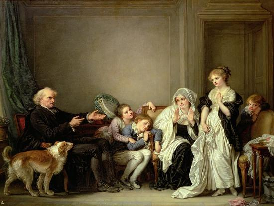 Visit to the Priest-Jean-Baptiste Greuze-Giclee Print