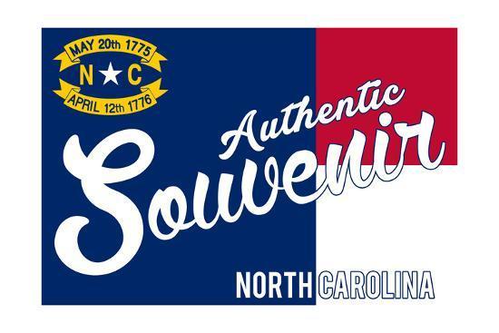 Visited North Carolina - Authentic Souvenir-Lantern Press-Art Print