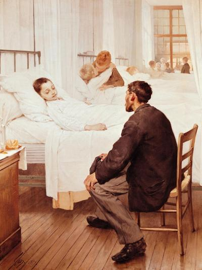Visiting Day at the Hospital, 1889-Jules Jean Geoffroy-Giclee Print