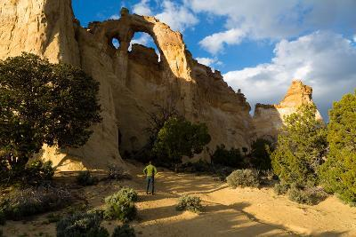 Visitor To Grosvenor Arch Standing Below Eroded Double Arch. Grand Staircase-Escalante NM, Utah-Mike Cavaroc-Photographic Print