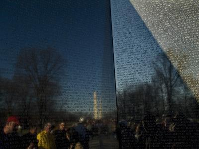 Visitors and Washington Monument Reflected in the Vietnam Memorial-Todd Gipstein-Photographic Print
