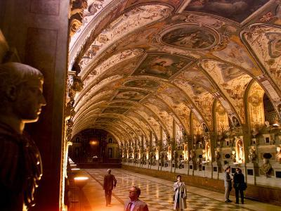Visitors Examine the Sculptures and Frescoes of the Antiquarium Hall in Munich, Germany--Photographic Print