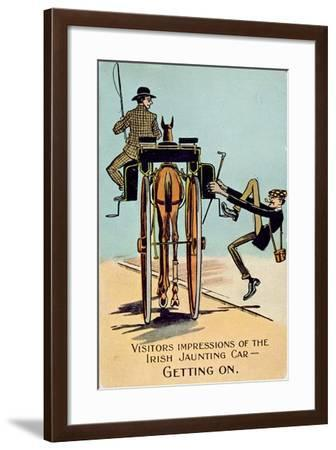 Visitors Impressions of the Irish Jaunting Car - Getting On, English, 1917--Framed Giclee Print