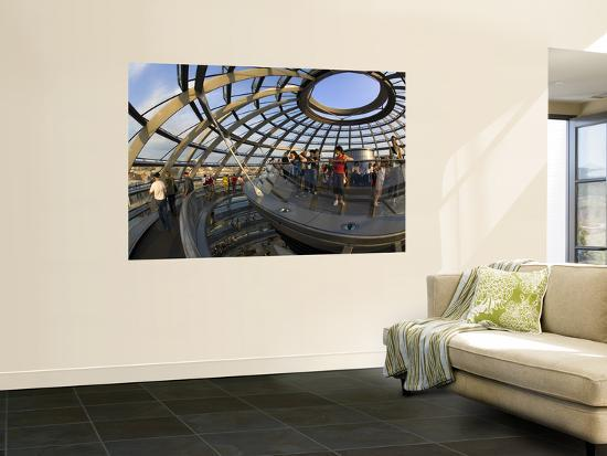 Visitors Inside Glass Dome on Top of Parliamentary Building, the Reichstag, Mitte-Mark Daffey-Wall Mural