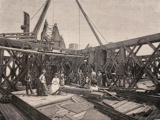 Visitors on the Second Terrace of the Eiffel Tower, August, 1888, France--Giclee Print