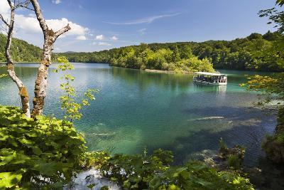 Visitors Taking a Cruise on Lake Kozjak, Plitvice Lakes, Plitvicka Jezera, Croatia-Martin Zwick-Photographic Print