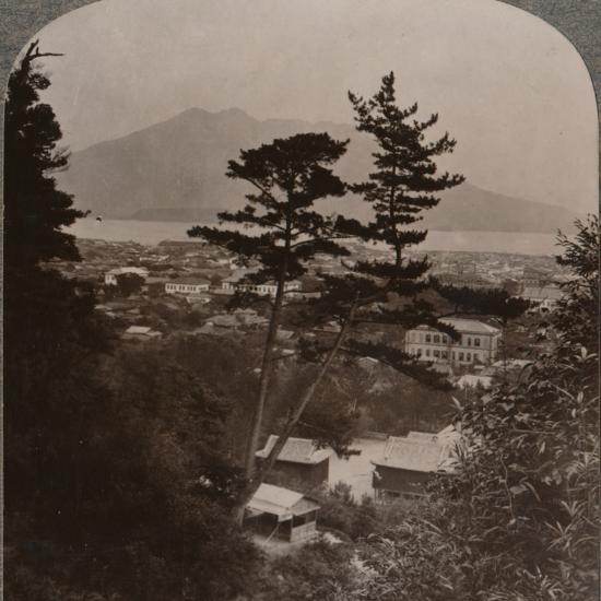 'Vista from hills above Kagoshima over Lake to distant Sakurajima volcano, Japan', 1904-Unknown-Photographic Print