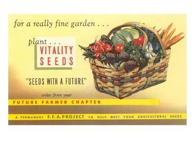 Vitality Seeds Advertisement, Vegetable Basket--Art Print