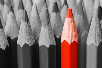 Red Pencil among Black and White by Vitaliy