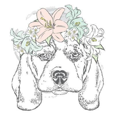 Cute Dog in a Wreath of Roses . Vector Illustration.