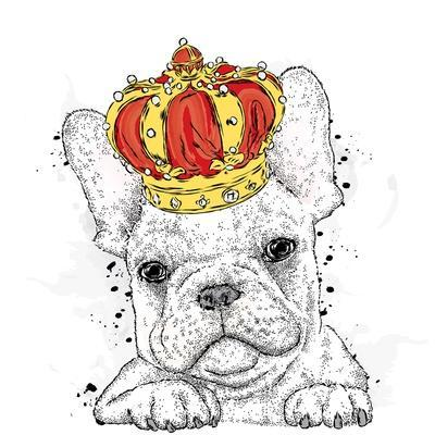 Cute Puppy Wearing a Crown. French Bulldog. Vector Illustration.