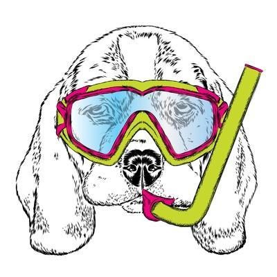 Cute Puppy Wearing a Mask for Diving. Vector Illustration. Portrait of a Dog.