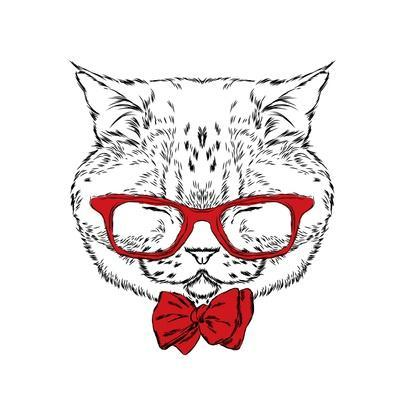 Funny Cat in a Tie and Glasses. Vector Illustration.