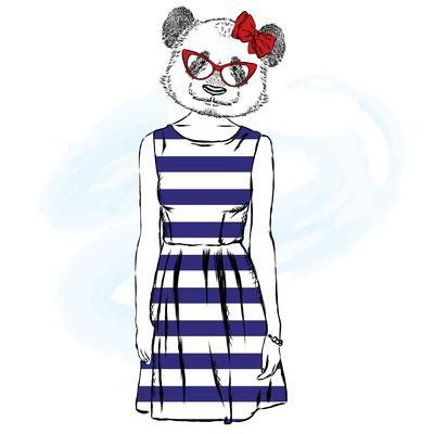 Panda in a Dress . Bear with the Human Body . Vector Illustration.