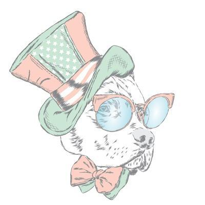 Pitbull in an Unusual Hat and Sunglasses. Vector Illustration. Funny Dog.