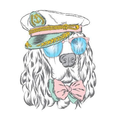Spaniel in the Captain's Cap. Vector Illustration of a Dog.